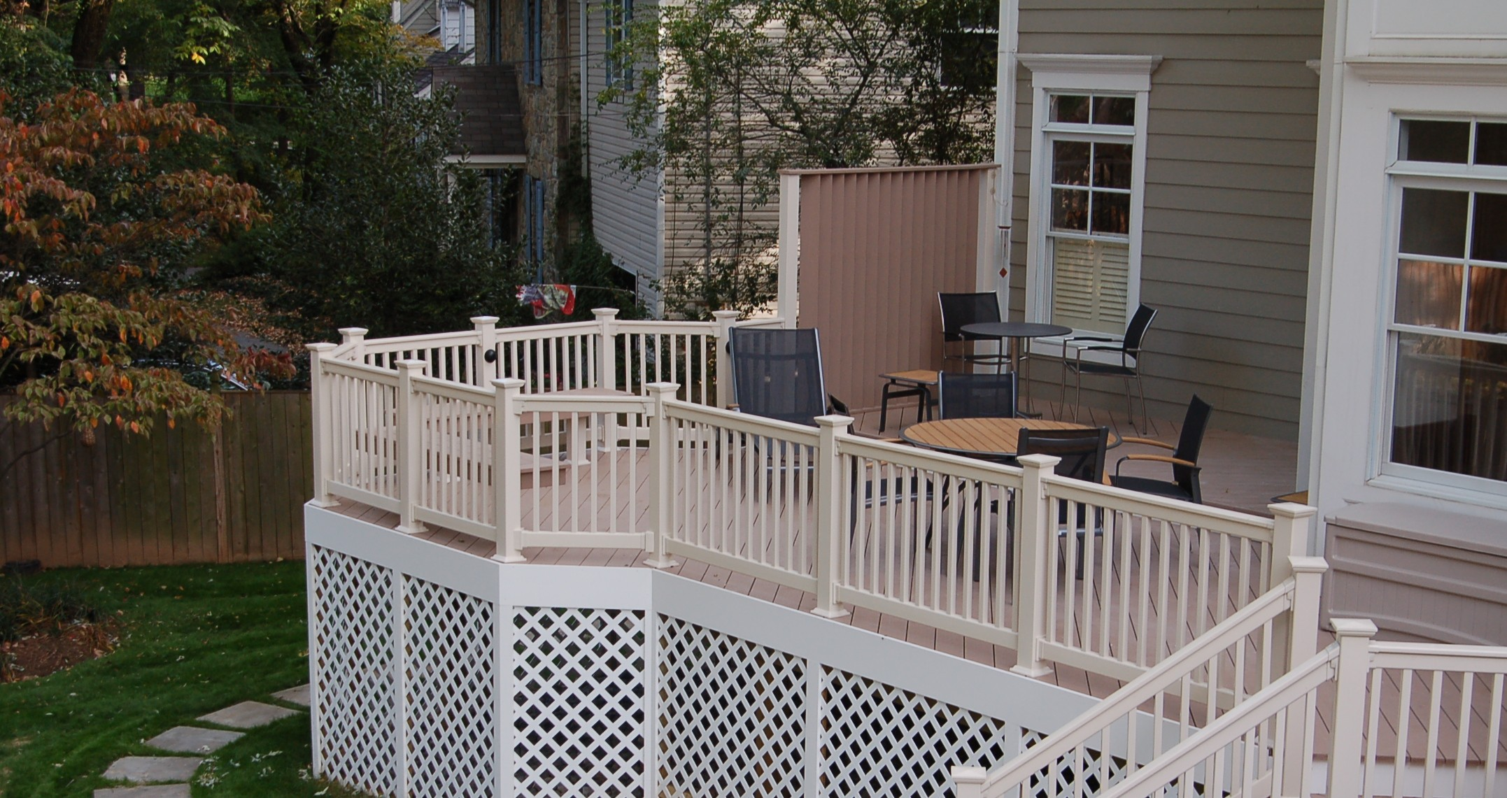 PVC AZEK brownstone deck Bethesda, Maryland side profile