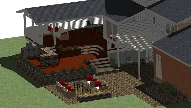 Outdoor kitchen area in Great Falls, VA
