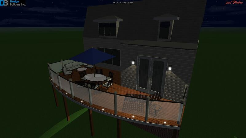 Bethesda deck with glass rails rendering
