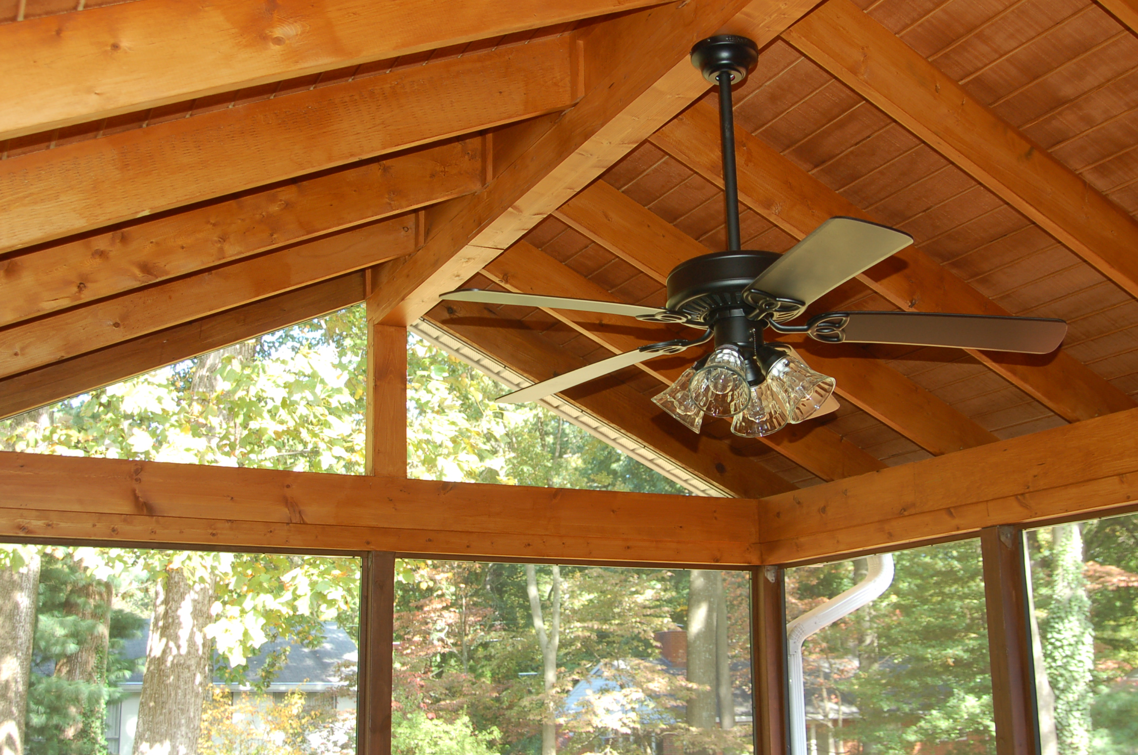 natural stained wood porch and screened room MD 3