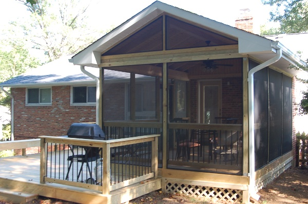 unstained hardwood screened porch