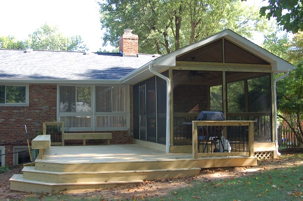 unstained pressure-treated deck screened porch