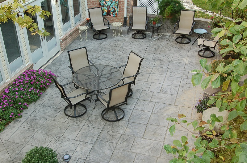 Dominican slate patio in Silver Spring, MD