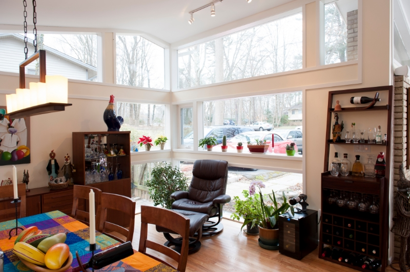 interior of historic sunroom remodel in carderock springs, maryland