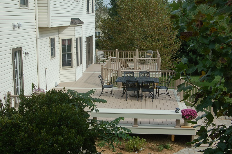 Azek brownstone PVC deck side profile Montgomery County