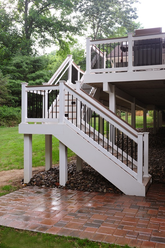 Black Deckorators balusters and red brick patio Columbia, MD