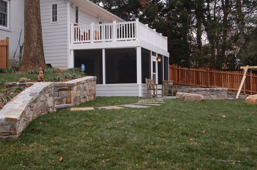 Flagstone Screened Porch In Chevy Chase Md With Unique