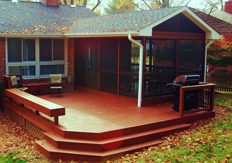 natural stained wood porch and screened room MD