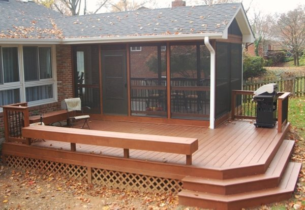 natural stained wood porch and screened room MD 2
