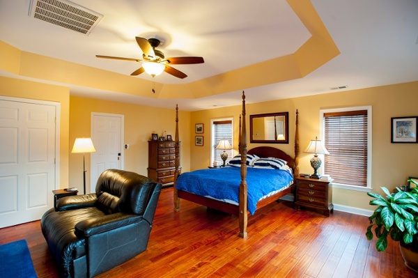 custom master bedroom addition tray ceiling Brazilian hardwood Fairfax Virginia