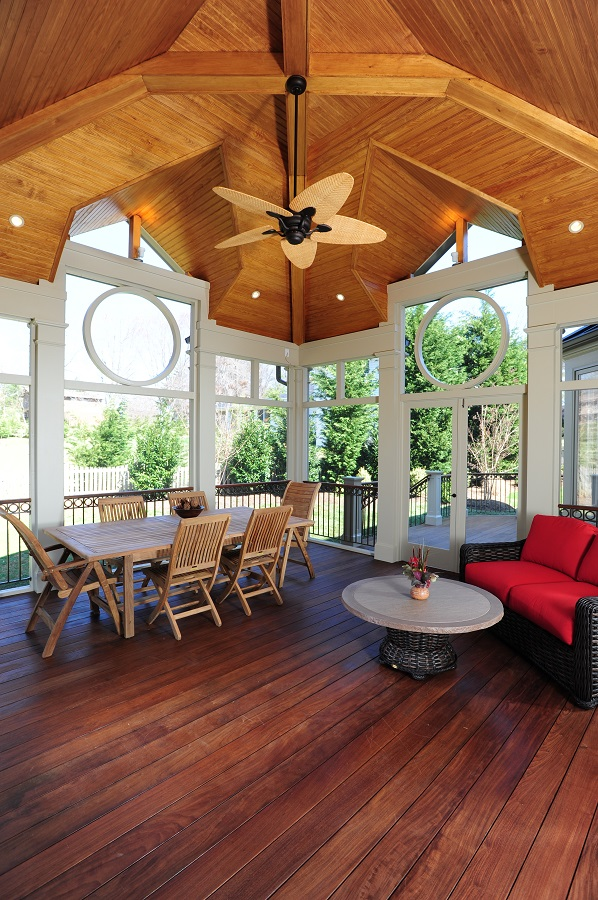 Brazilian hardwood and cedar ceiling in Potomac, Maryland
