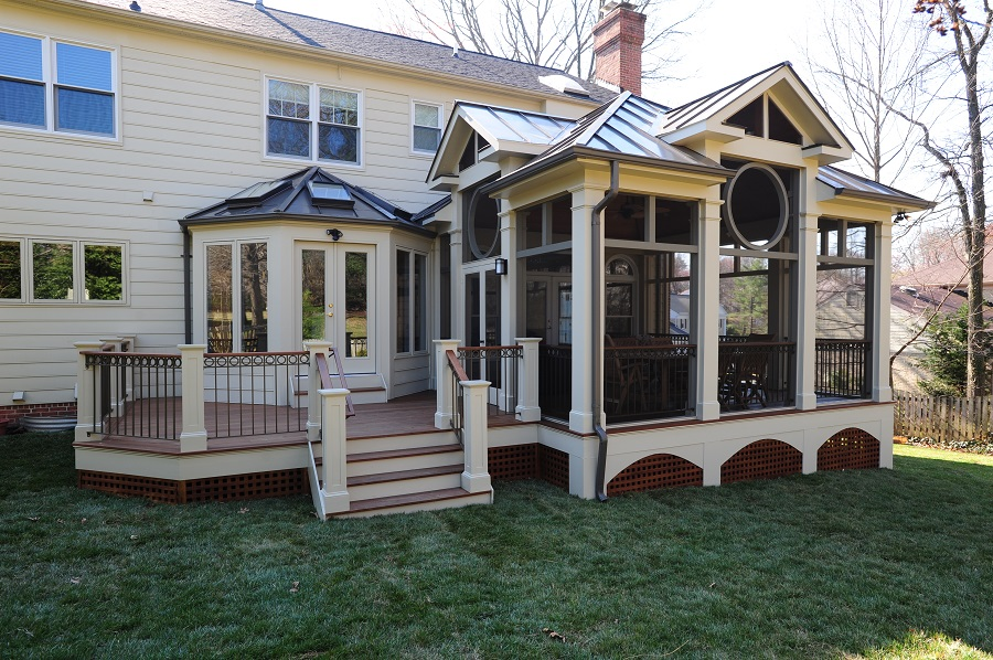 Screened Porch In Potomac, MD With Bronze Seam Roof