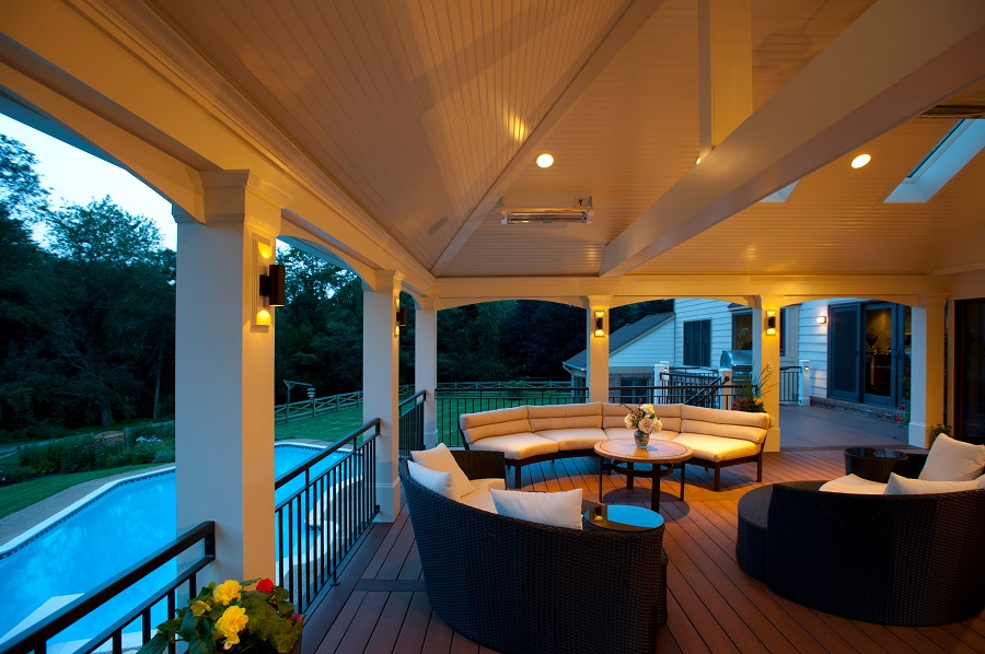 Screened porch Vienna, Virginia sconce lighting inlays