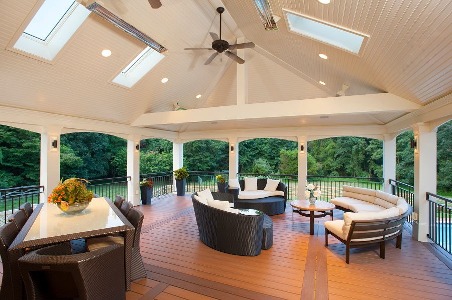 retractable screened porch design in vienna, virginia with low-maintenance decking