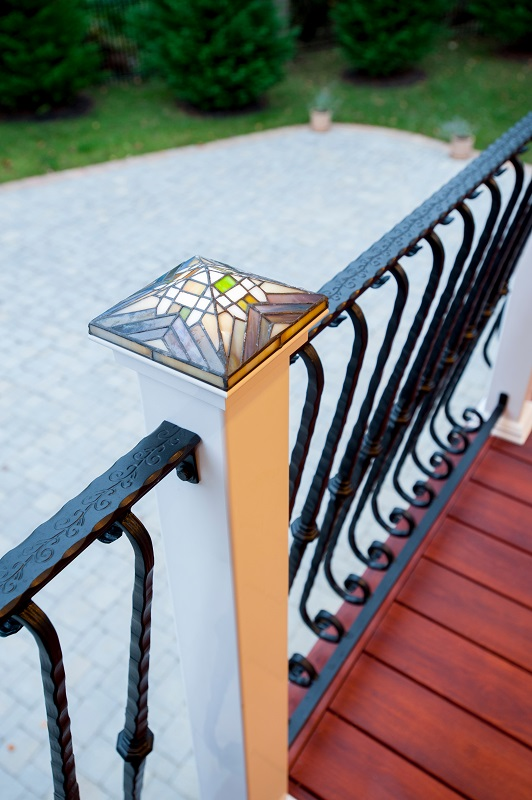 Zuri decking wrought iron handrails stained glass outdoor light