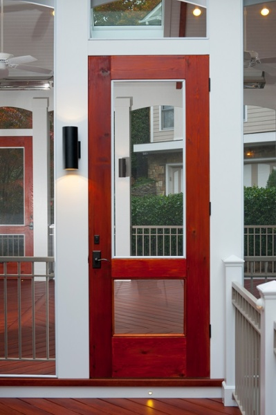 custom cedar door stained with windows Zuri screened porch