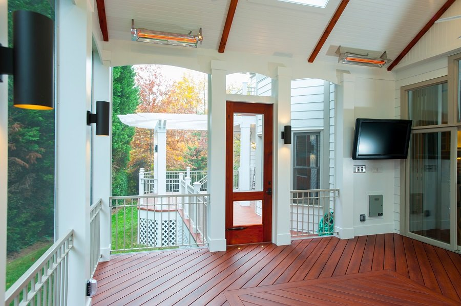 Infratech infrared heaters in a screened porch in Maryland