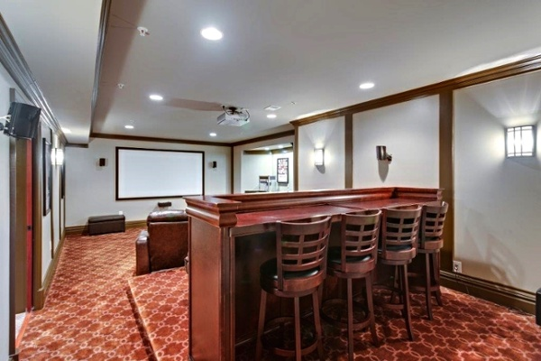 custom home theater bar seating Bethesda, Maryland