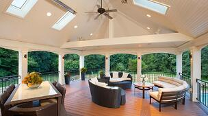 screened porch with minka aire ceiling fan by design builders