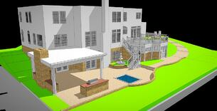 3D design rendering for an outdoor living space consultation