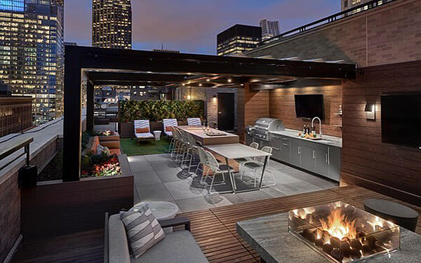 Roof Top Deck Porcelain Tiles with Fire Pit