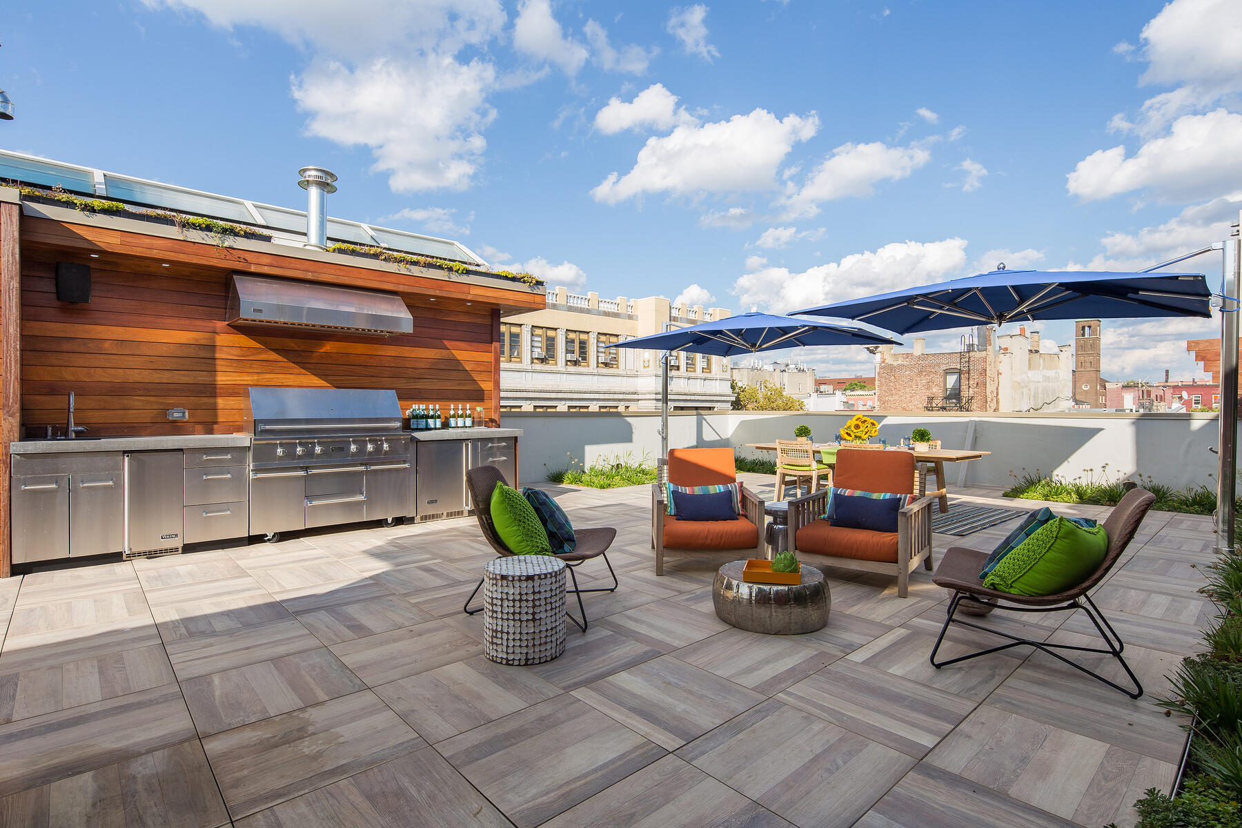 architrex porcelain tile deck with outdoor kitchen in hoboken, new jersey