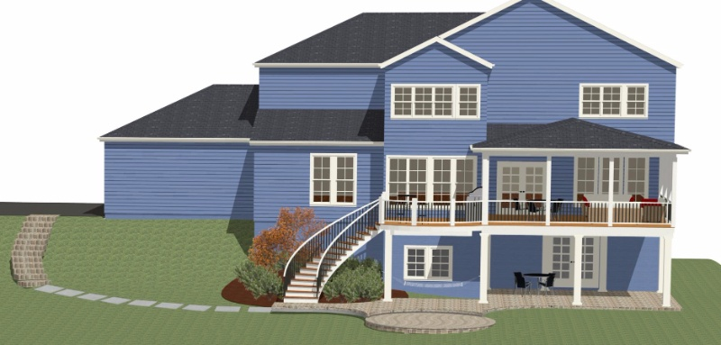 design builders screened porch rendering for fulton, maryland