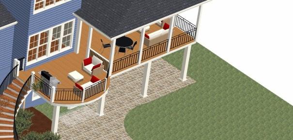 low-maintenance screened porch design rendering fulton, maryland