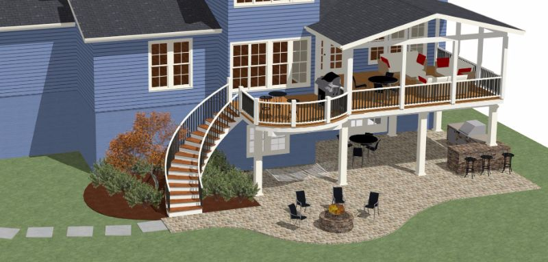 entertainment patio design rendering by design builders inc in maryland