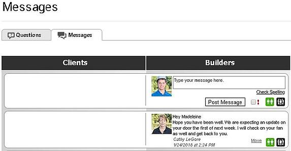 design builders message board on coconstruct example