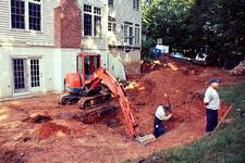patio excavation in Clifton, Virginia
