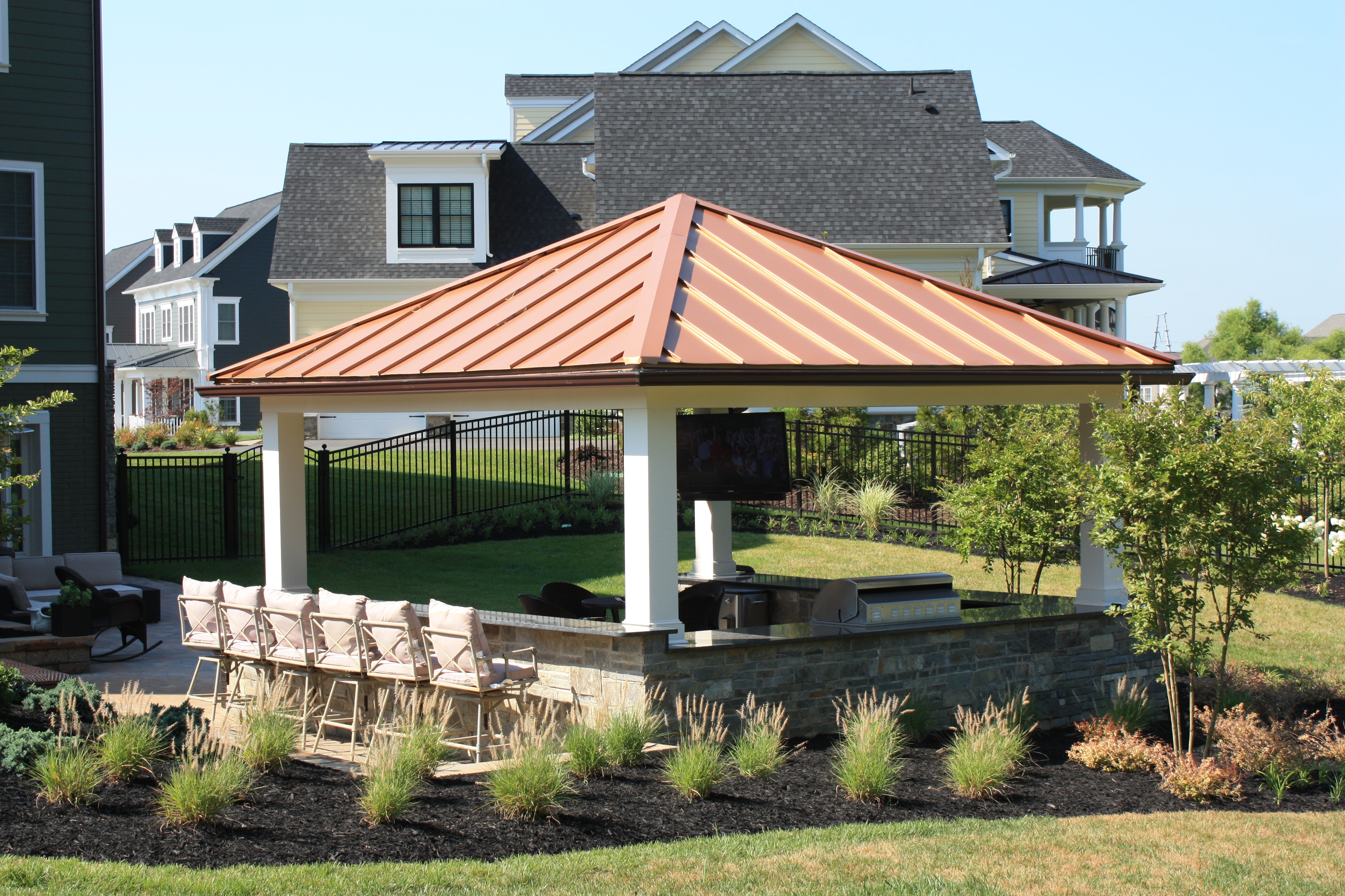 outdoor kitchen pavilion with copper roof in fulton, maryland