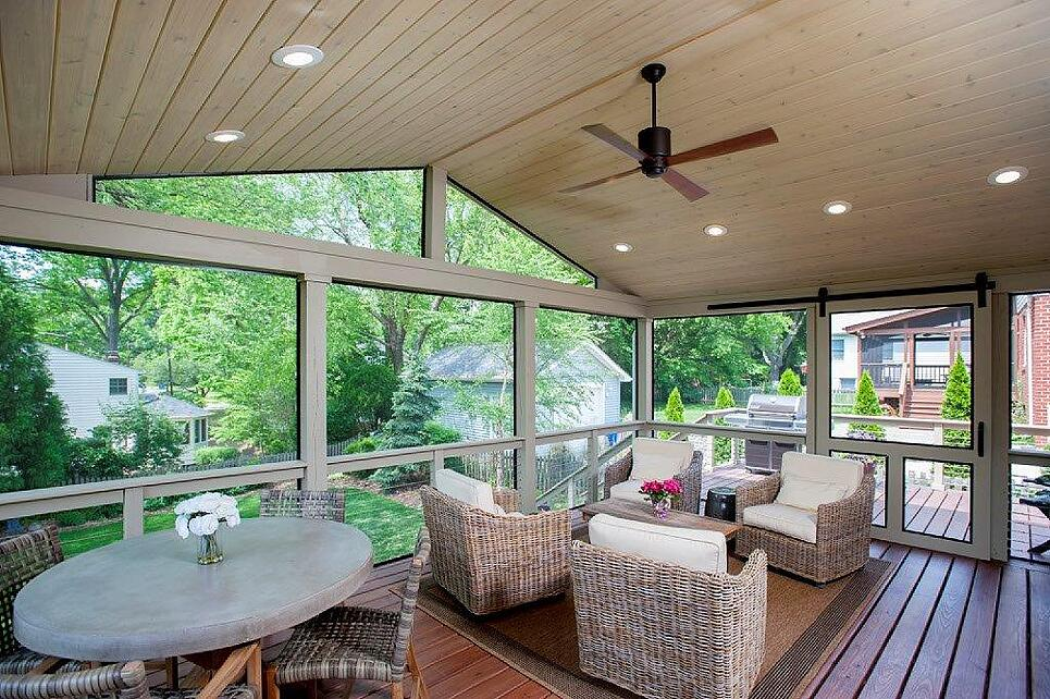 low-maintenance traditional screened porch in montgomery county, maryland