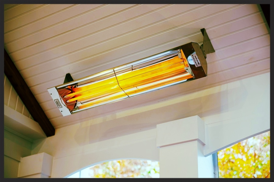 Infratech outdoor heater mounted in Potomac, Maryland