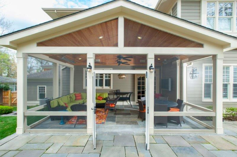 Craftsman Screened Porch With Flagstone Patio In Bethesda