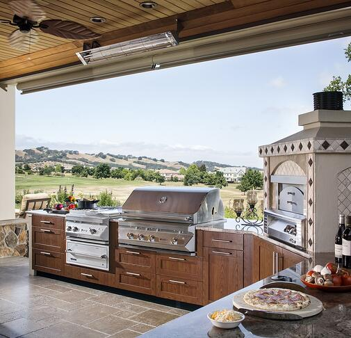 danver outdoor kitchen with key west doors in cherry flame