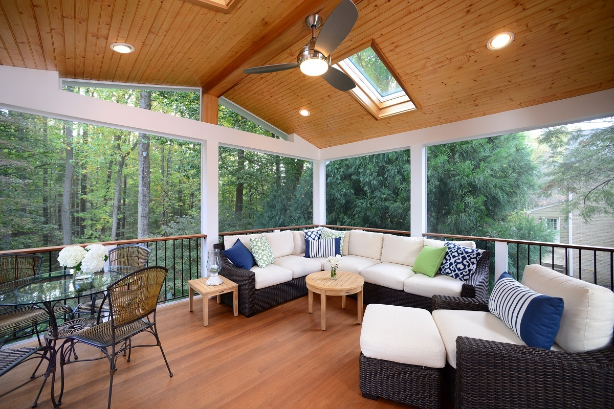 screened room with recessed lights in a tongue-and-groove ceiling in maryland