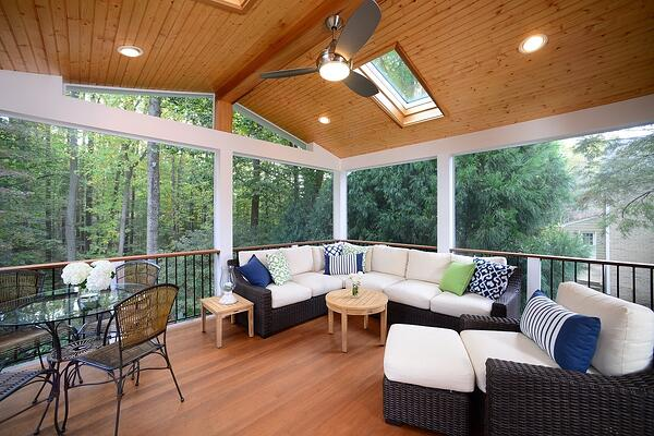 hardwood screened-in porch design in Maryland