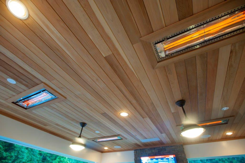 Tongue and groove cedar ceiling Infratech outdoor heaters, Minka Aire ceiling fans, Trex recessed ceiling lights in Fairfax County, VA (1)