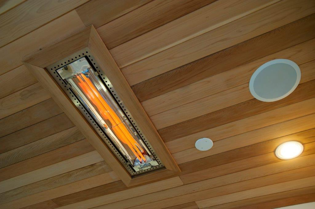 Tongue and groove cedar ceiling Infratech outdoor heaters, Minka Aire ceiling fans, Trex recessed ceiling lights in Fairfax County, VA (2).jpg