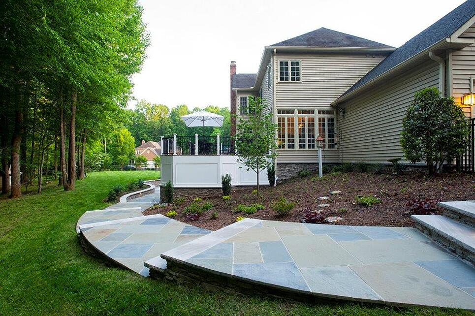 curved flagstone patio walkway in clifton, maryland