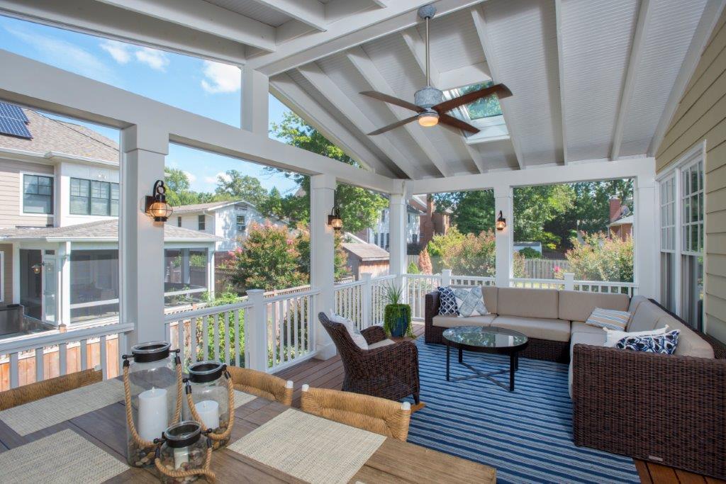 screen porch Potomac, Maryland Ipe interior