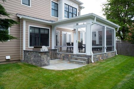 elevated flagstone porch with outdoor kitchen w video - Outdoor Screened Porches
