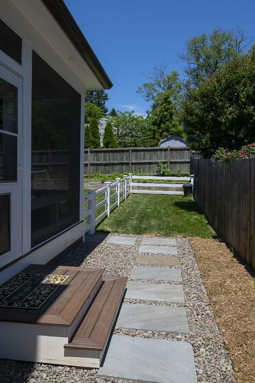 custom dog pen for a screened porch and outdoor kitchen in Bethesda, Maryland