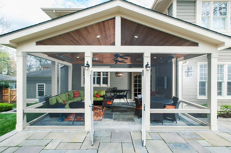premium screened porch design with double doors in maryland