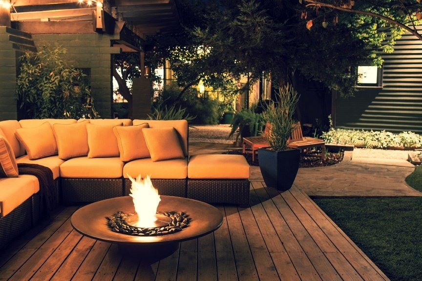 EcoSmart backyard fire pit installation