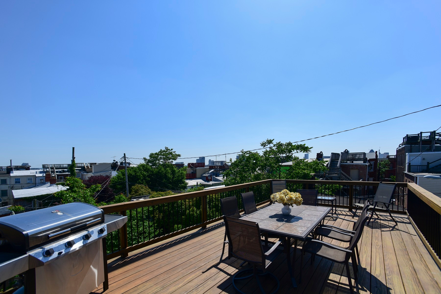 low-maintenance rooftop deck design in Fells Point, Baltimore, Maryland