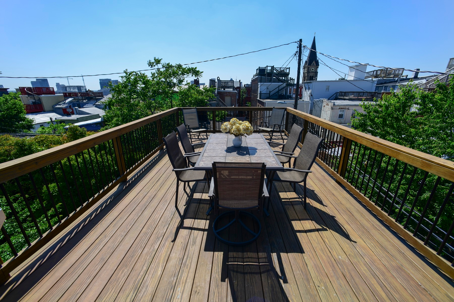 stained hardwood rooftop deck in baltimore, maryland
