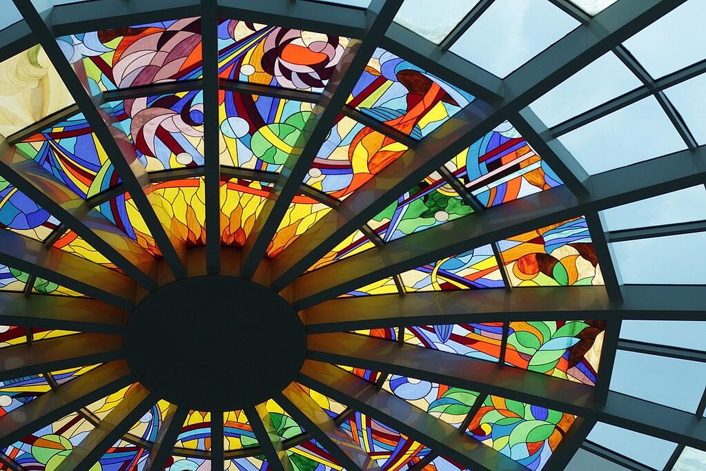 glass roof ceiling stock image