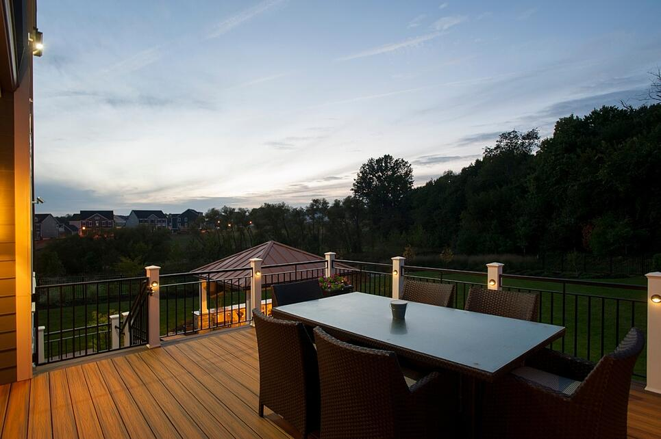 two brown shades of Trex decking trim at sunset in Fulton, Maryland